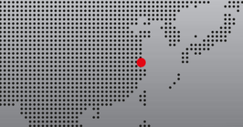 extract of a world map with a red dot to show where shanghai is